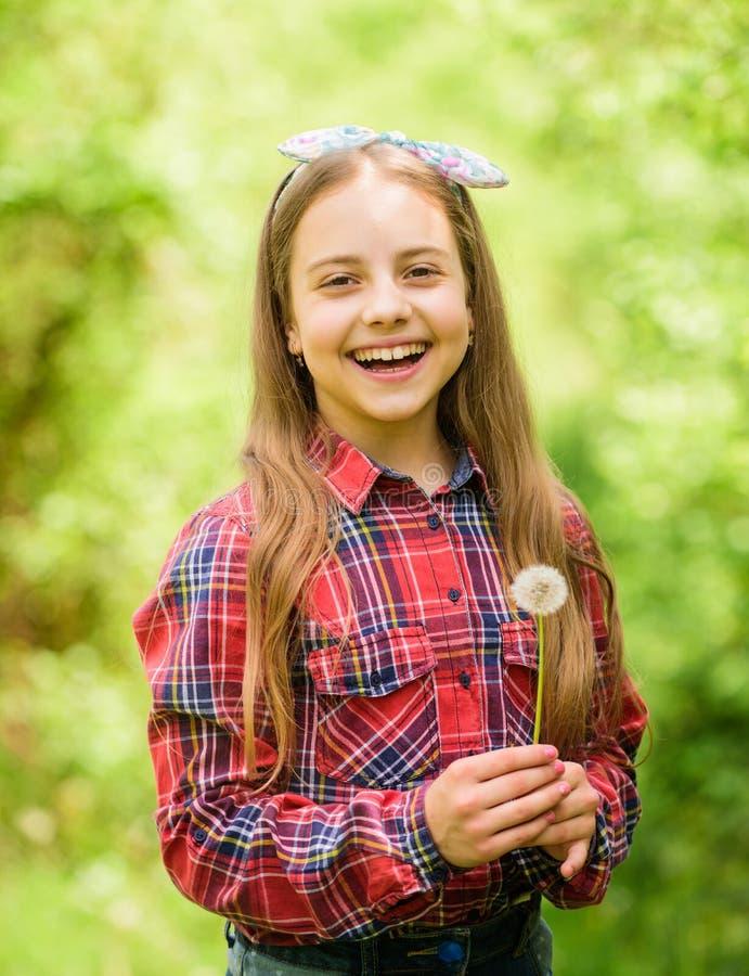 女孩逗人喜爱的青少年穿戴了国家土气样式方格的衬衣自然背景 蒲公英美丽和有很多  库存图片