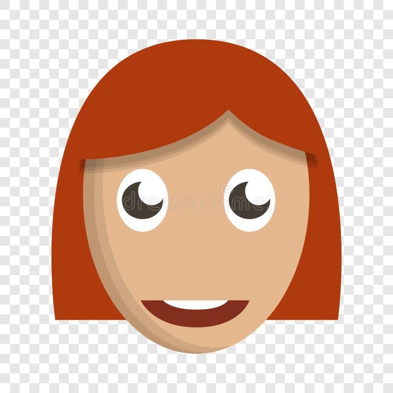 女孩逗人喜爱的面孔象,动画片样式 库存例证