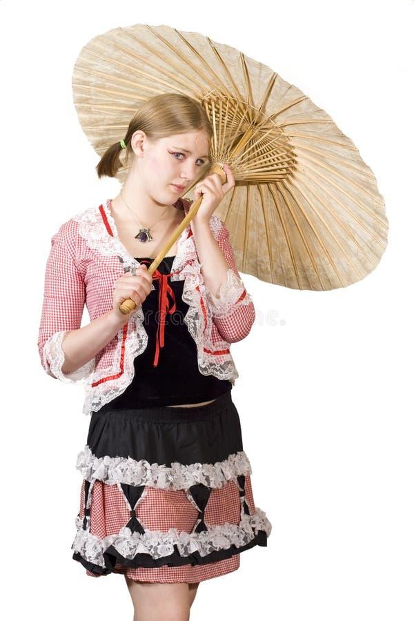 女孩遮阳伞 库存图片