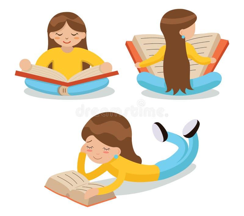 女孩阅读书坐地板 库存例证