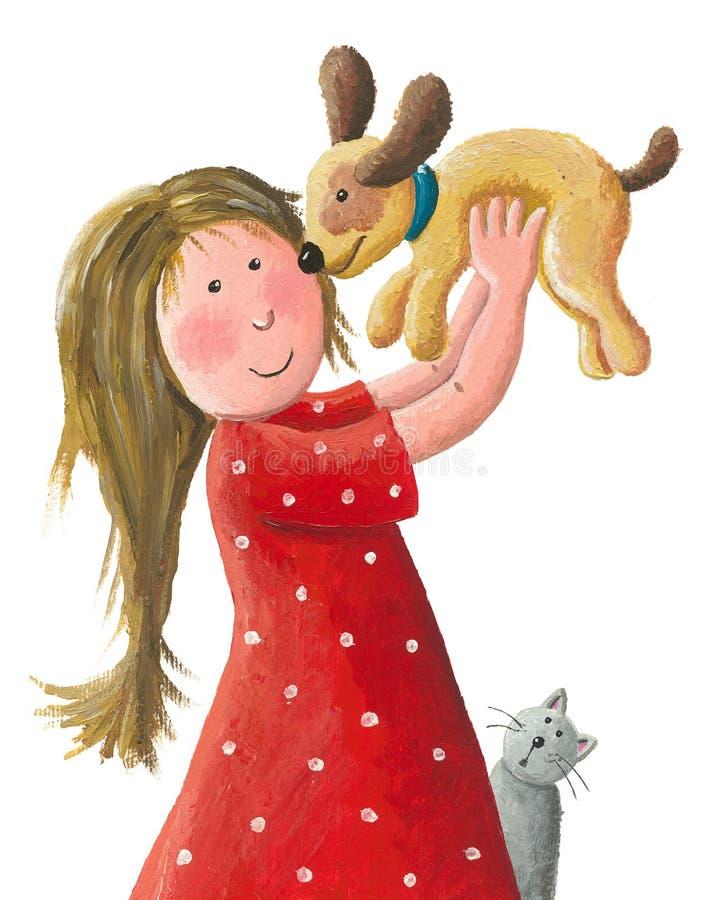 女孩阻止她新的棕色小狗 向量例证