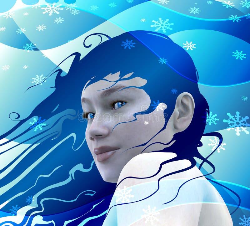 女孩雪 向量例证
