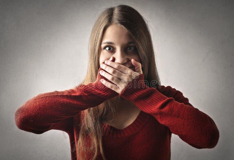 女孩震惊 免版税库存照片