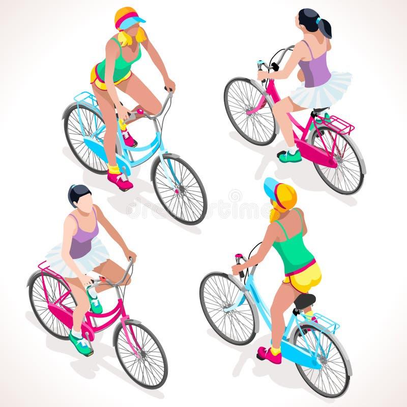 女孩青少年的循环的3D传染媒介等量人民 库存例证