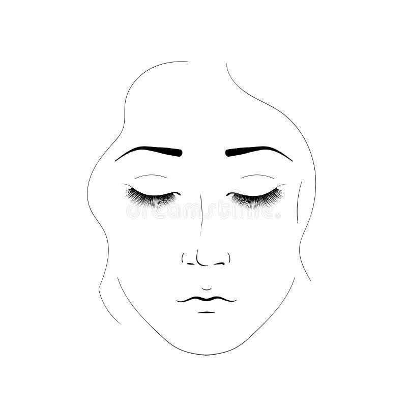 女孩面孔是由黑线创造的 一名妇女的典雅的画象有闭合的眼睛和美丽的睫毛的 要素 库存例证