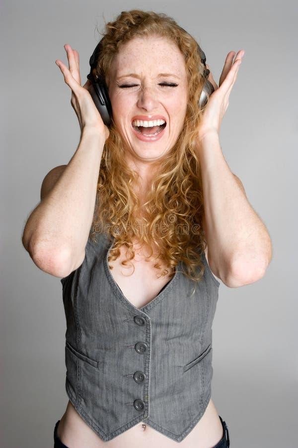 女孩音乐唱歌 库存照片