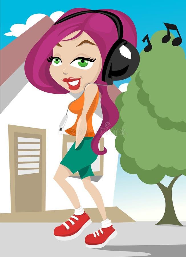 女孩音乐走 向量例证