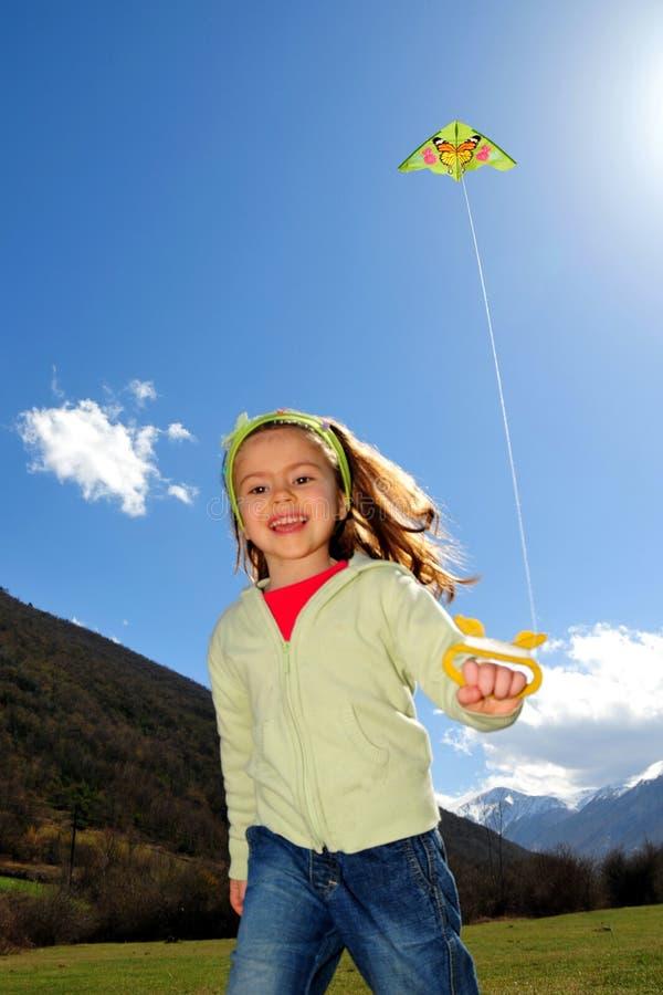 女孩风筝 库存照片