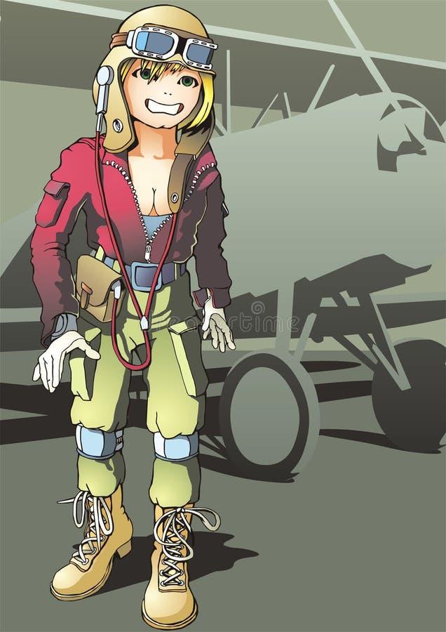 女孩飞行员 向量例证