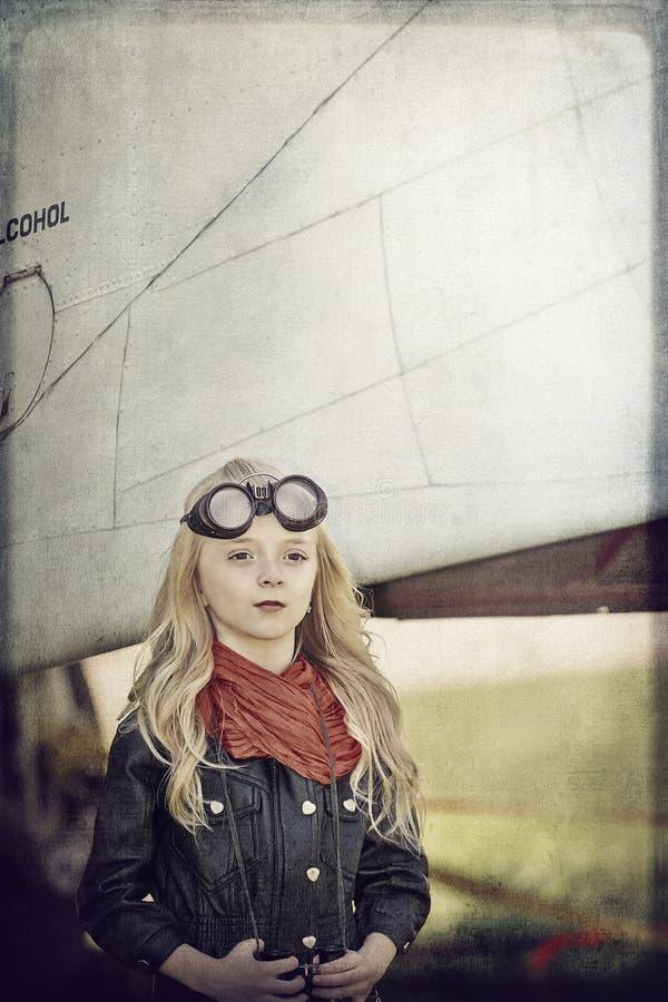 女孩飞行员 库存照片