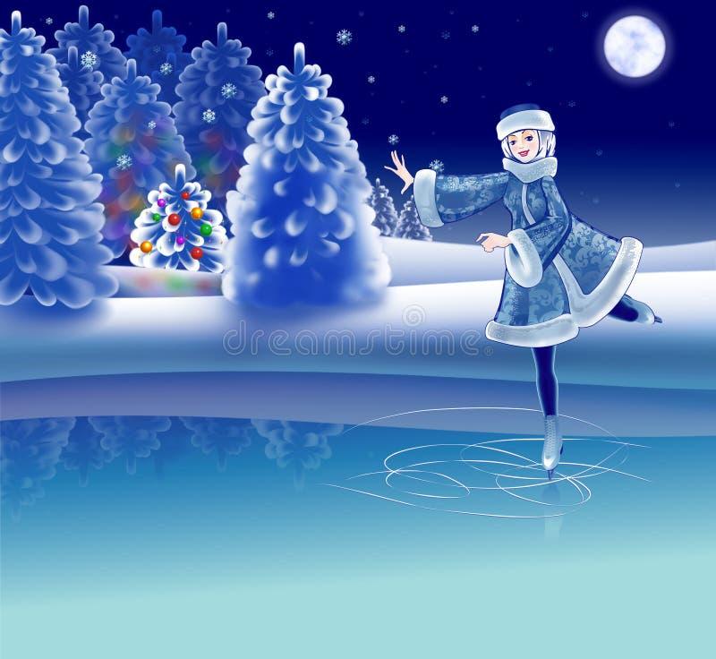 女孩骑马溜冰场滑冰 向量例证