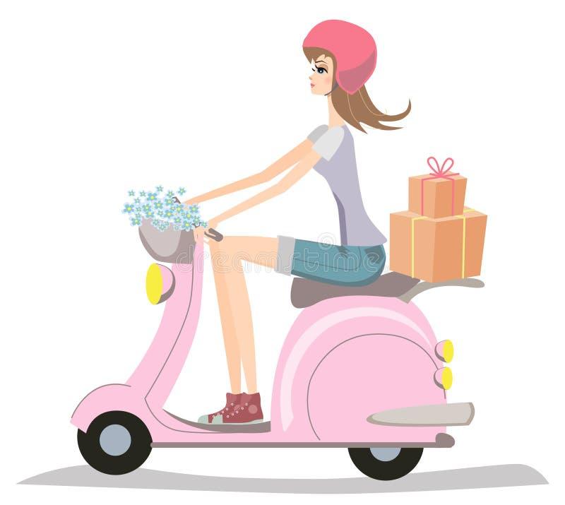 女孩骑马滑行车年轻人 皇族释放例证