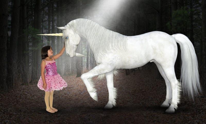 女孩,和平,希望,爱,自然,独角兽,森林 库存图片