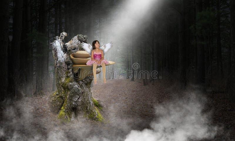 女孩,天使, Hople,爱,和平 图库摄影