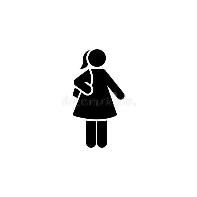女孩,学校,去,请求象 每日定期象的元素 向量例证