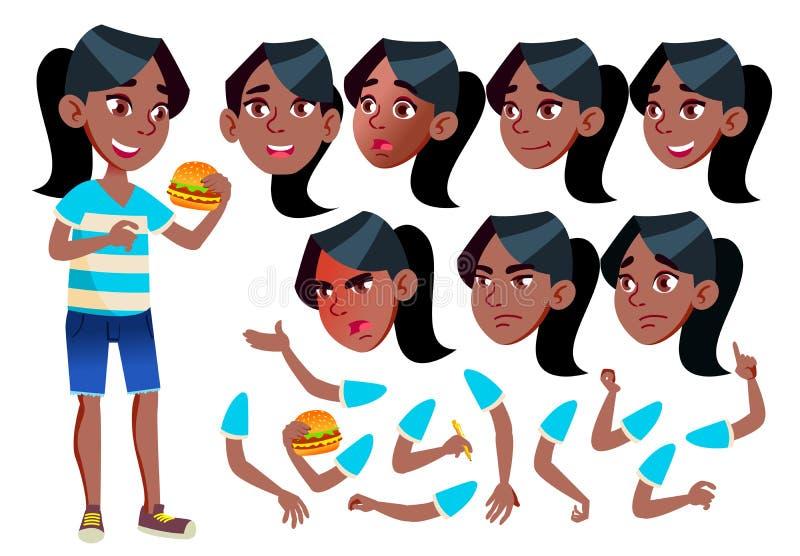 女孩,孩子,孩子,青少年的传染媒介 投反对票 美国黑人 休闲 教育,研究 面孔情感,各种各样的姿态 向量例证