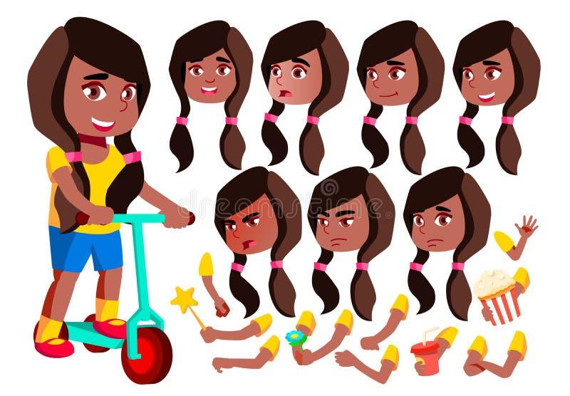 女孩,孩子,孩子,青少年的传染媒介 投反对票 美国黑人 喜悦 可笑的同学 面孔情感,各种各样的姿态 安卡拉 向量例证