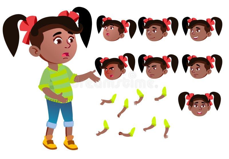 女孩,孩子,孩子,青少年的传染媒介 投反对票 美国黑人 美丽 青年时期,白种人 面孔情感,各种各样的姿态 皇族释放例证