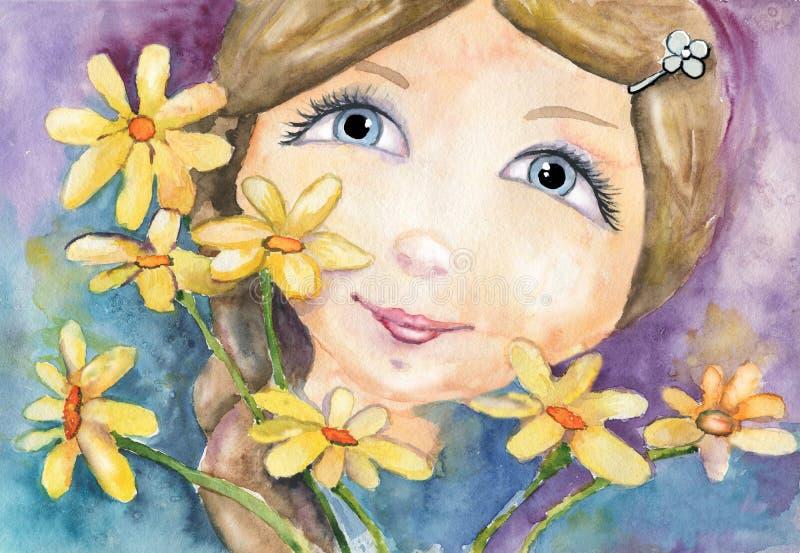 女孩,有花的年轻女人 印刷品,盖子,横幅,卡片,问候,邀请,背景设计的水彩图画, 皇族释放例证