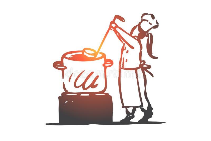 女孩,烹调,汤,平底锅,厨师概念 手拉的被隔绝的传染媒介 皇族释放例证