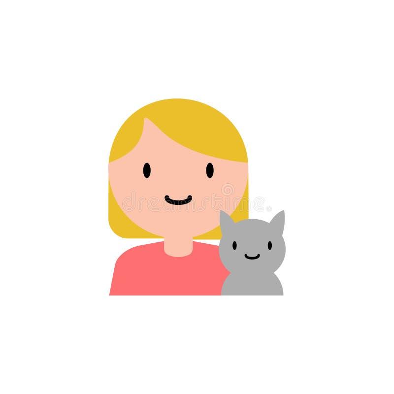 女孩,猫动画片象 家庭流动概念和网应用程序的动画片象的元素 可以使用详述的女孩,猫象,为了我们 皇族释放例证