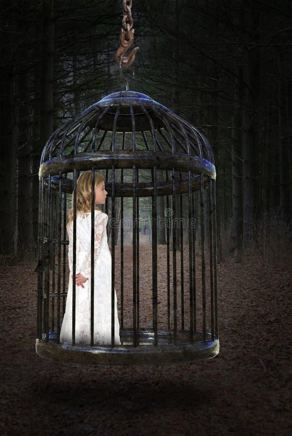 女孩,笼子,爱,希望,和平 免版税库存图片
