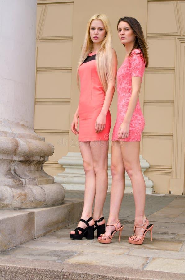 女孩,金发碧眼的女人和浅黑肤色的男人,短的桃红色礼服的在曲拱Â老石大厦站立与大专栏 库存图片