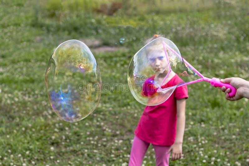 女孩,金发碧眼的女人,使用在草甸和打击泡影 库存图片