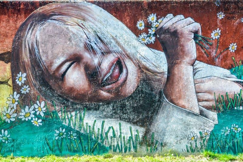 女孩,维利亚里卡火山,智利街道画有花的 免版税库存图片