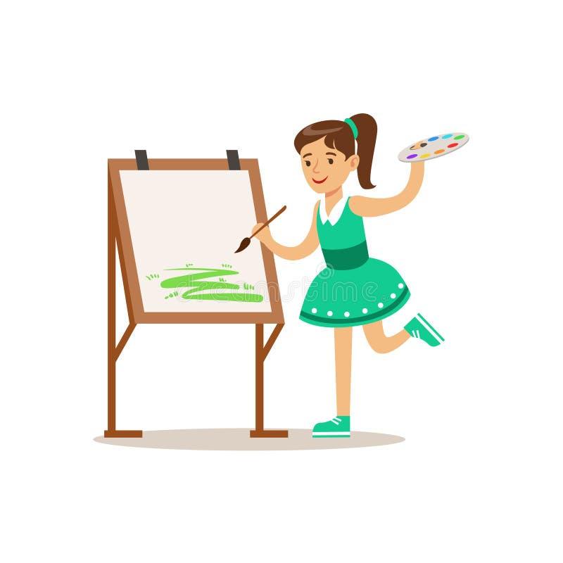 女孩绘画、创造性的儿童实践的艺术在艺术课,孩子和创造性主题的例证 皇族释放例证