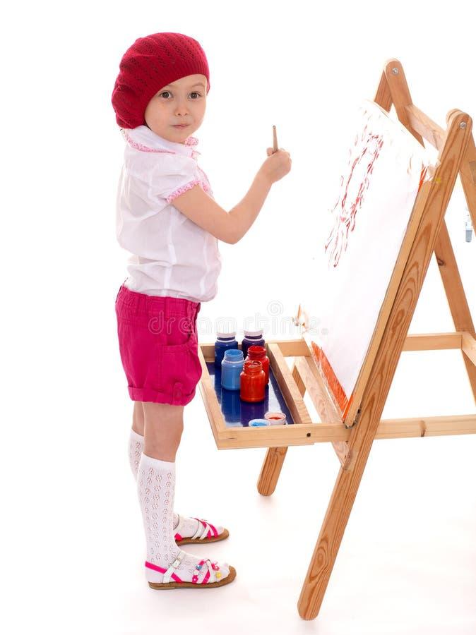 女孩画。 库存照片