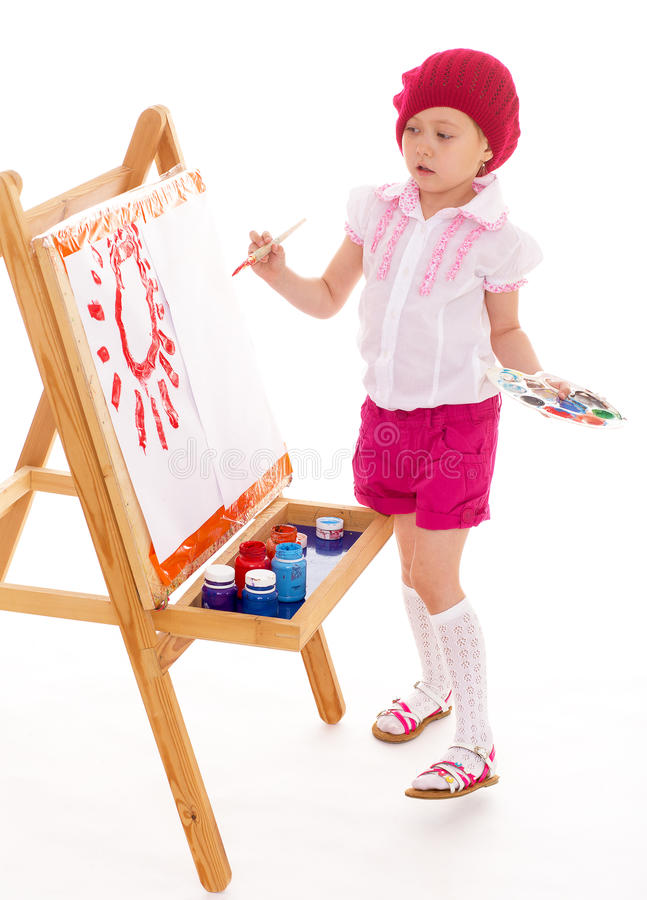 女孩画。 库存图片