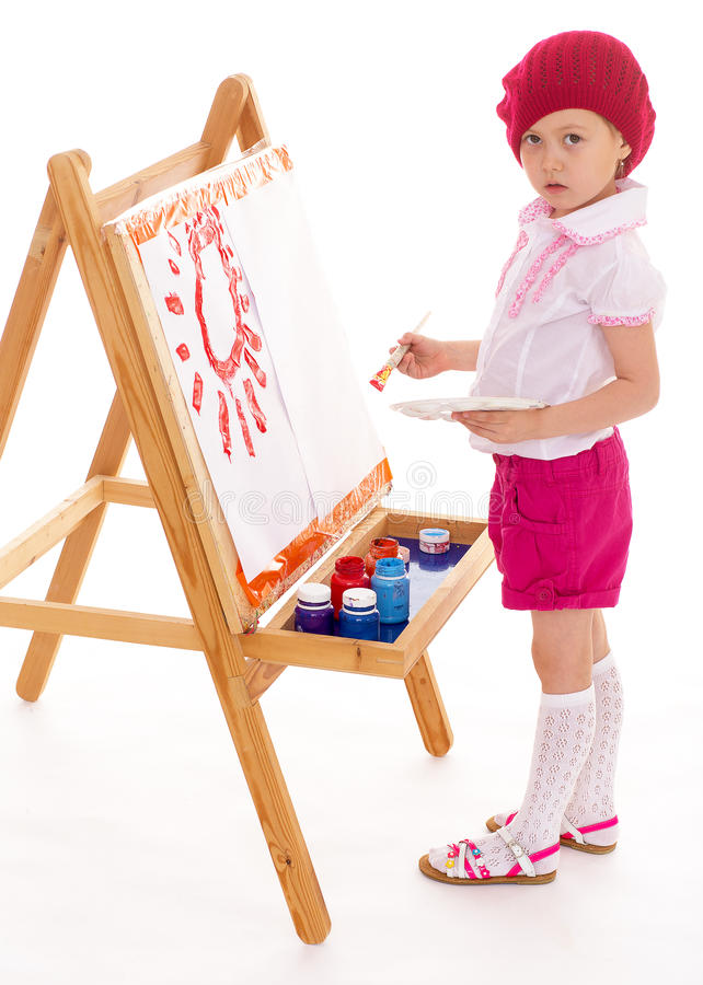 女孩画。 免版税图库摄影