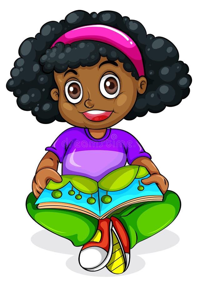 黑女孩读书 皇族释放例证
