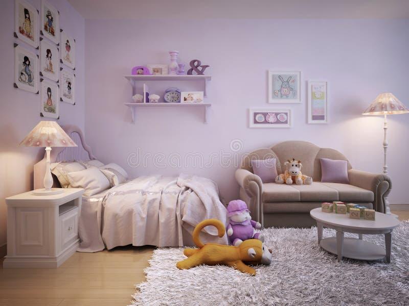 女孩经典之作样式的儿童居室 库存图片