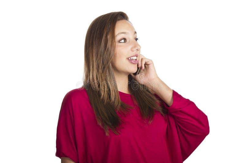 女孩移动电话谈话 免版税库存照片