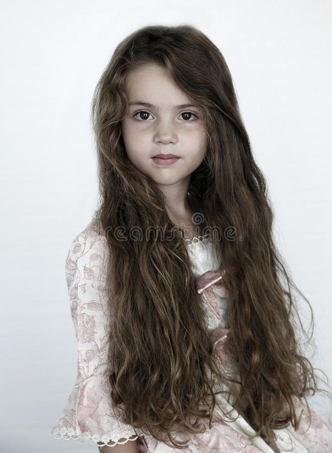 女孩头发长期一点 库存图片