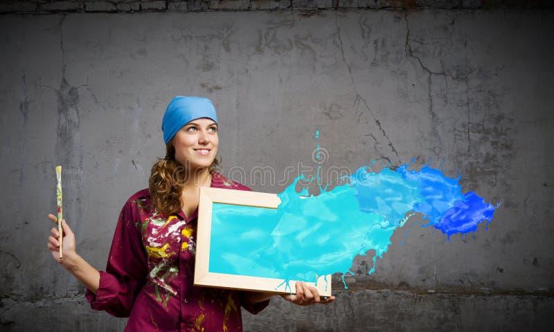 女孩画家 免版税库存图片