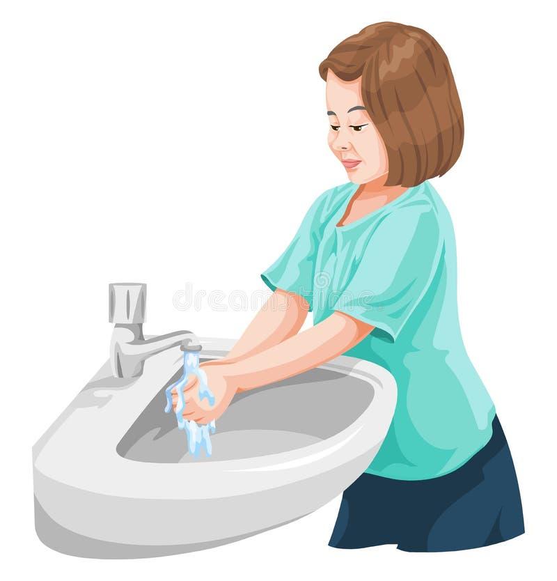 女孩洗涤的手传染媒介在面盆的 向量例证
