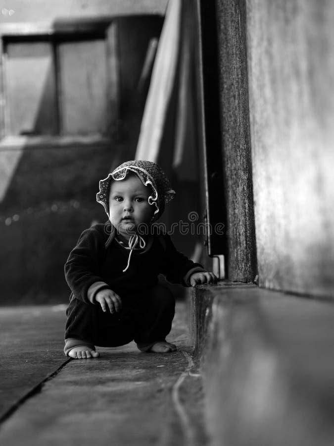 女孩黑白色 免版税图库摄影