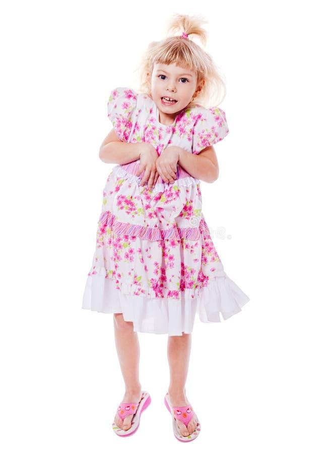 女孩滑稽跳跃 免版税库存图片