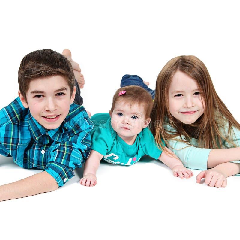女孩画象和男孩和婴孩 免版税库存照片