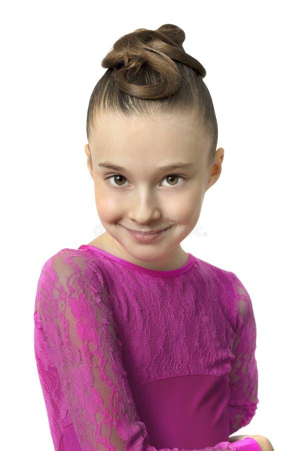 女孩画象跳舞礼服的被隔绝在白色 库存照片