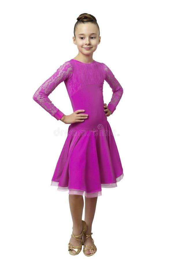 女孩画象跳舞礼服的被隔绝在白色 免版税库存图片
