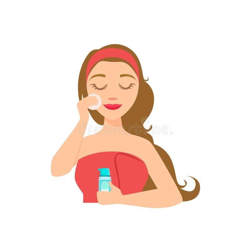 女孩去除用Skincare产品和棉花回合,有做家庭温泉做法的闭合的眼睛的妇女组成 库存例证