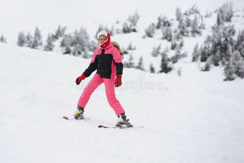 女孩滑雪者 库存照片