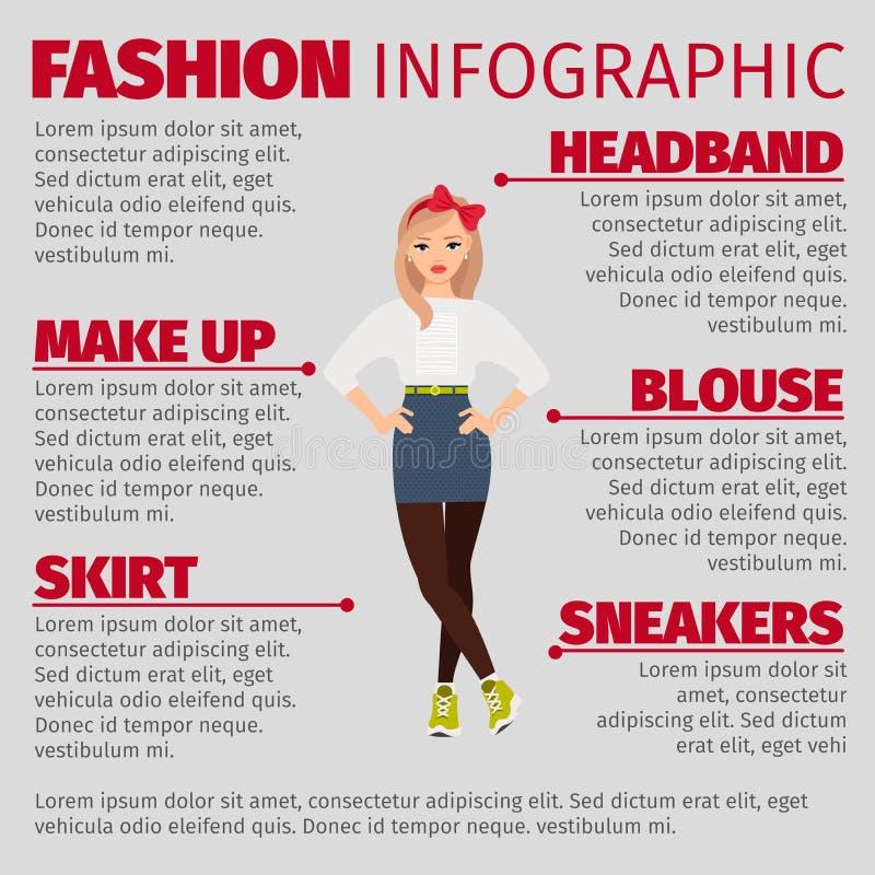 女孩以infographic便装样式的时尚 皇族释放例证