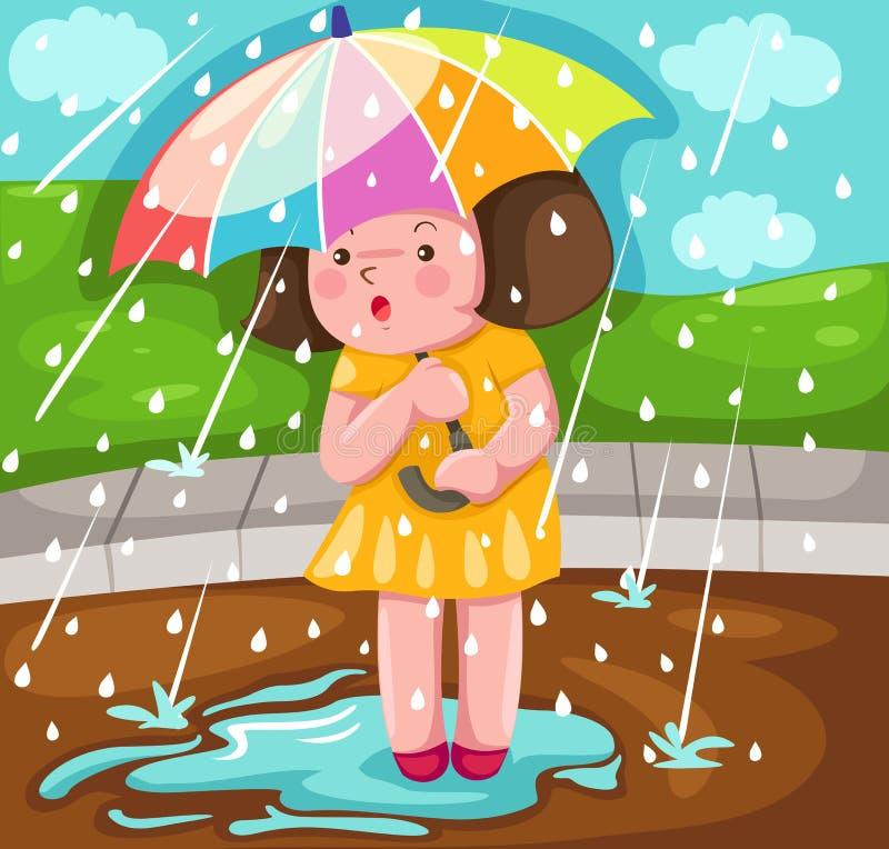 女孩landscpae雨 皇族释放例证
