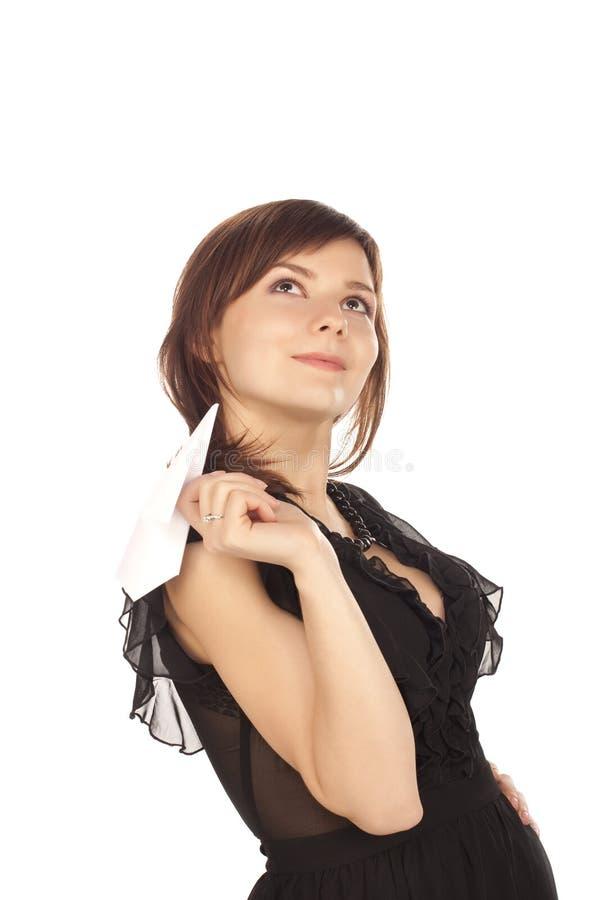 女孩origami平面投掷的空白年轻人 免版税库存图片