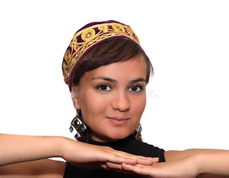 女孩skullcap微笑的紫罗兰 库存照片